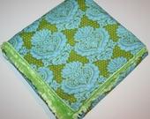 Damask Baby Blanket - Minky Baby Blanket -  Blue and Green Baby Blanket - Girl Baby Blanket - Personalized baby girl gift