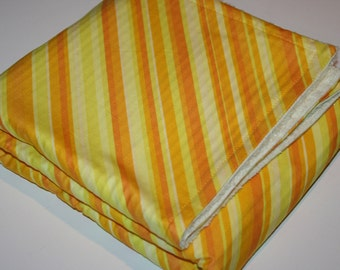 Yellow Striped Chenille Baby Blanket - Newborn Baby Gift - Personalized Baby Name