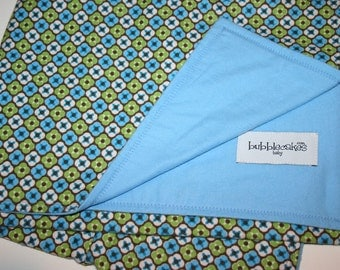 Baby Boy Blanket - Swaddling Blanket - Flannel Baby Blanket - Boy Baby Gift Idea - Blue and Green Baby Blanket - 45x36