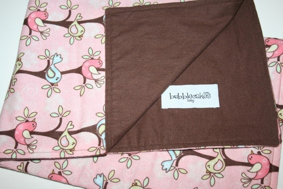 Large Pink Birdy Birds Flannel Baby Blanket - Personalized Girl Blanket