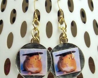 GUINEA PIG GRAD Earrings - Handmade Unique Graduation Photo Jewelry - Gold Chain & Mirror Tile
