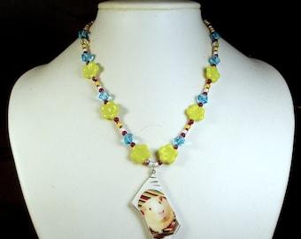 Floral Rainbow GUINEA PIG Pottery Shard Beaded Necklace - Swarovski Crystal & Glass