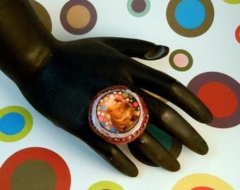 Kitschy Polka Dot GUINEA PIG Photo Ring - Fully Adjustable Band
