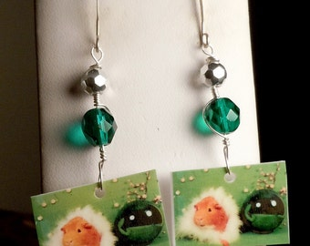 Sparkly Crystal Green GUINEA PIG Earrings - Wire Wrapped By Hand