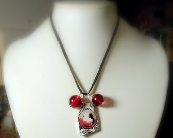 Red White & Black GUINEA PIG Pottery Shard Pendant with Black Faux Suede Necklace and Bold Red Beads