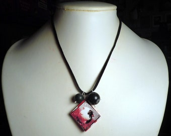 Red Guinea Pig Polymer Clay Photo Pendant with Black Faux Suede Necklace & Black Onyx Beads