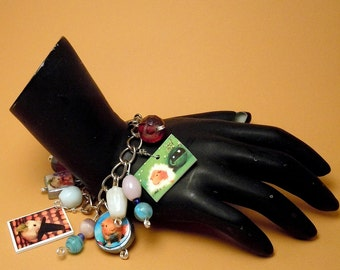 Guinea Pig Charm Bracelet - 6 Unique Photo Charms - OOAK - Halloween Witch - Patriot - Joker - Easter Bunny and more - Silver