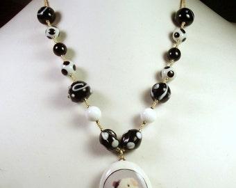 Black & White Beaded GUINEA PIG PHOTO Necklace