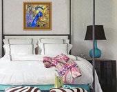 Peacock Wall Art | fine art print | watercolor painting | jewel tones purple deep teal cobalt blue golden yellow blue | FRAMEABLE PRINT