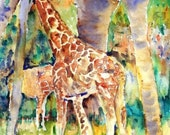safari art | Giraffe Art | Zoo Animal Art | Jungle animal art | Watercolor Painting PRINT