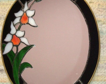 Stained Glass Orchid Floral Oval Mirror
