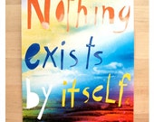 On sale - Free shipping -  Nothing exist by itself - Inspirational Postcard Set