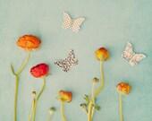 Fine Art Photograph, Mixed Media Art, Garden, Butterflies, Red, Orange, Ranunculus, Flower Photo, Summer, Home Decor, Whimsy Art, Teal