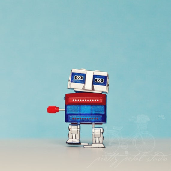 Robot Photo, Fine Art Print, Wall Art, One, Wind Up Toy, Robot Art, Boys Room, Nursery Art, Whimsical, Red, Blue, Teal, Toy, Square Print
