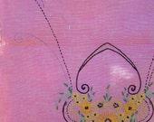 Vintage Linen Table Runner / strawberry pink flower basket