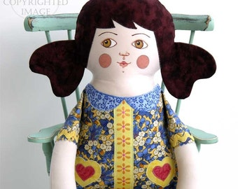 Handmade Brunette Girl Doll, Hand Painted Stuffed Art Toy, Original OOAK Art Toy, 18 1/5 inch, Gold, Yellow, Blue Floral, Ready-made