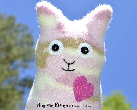 Handmade Cat, Stuffed Animal Plush Doll Art Toy, Hug Me Kitten, Personalized Hang Tag, Pink Camouflage Fleece, 9 inch, Ready-made