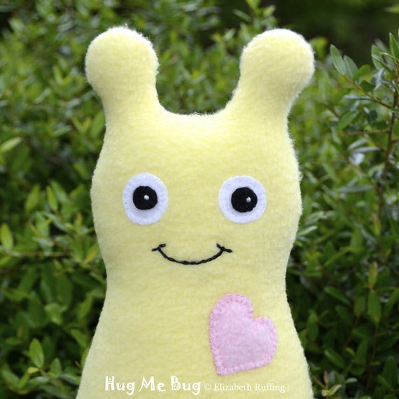 Handmade Bug, Stuffed Animal Plush Doll Art Toy, Hug Me Bug, Personalized Hang Tag, Soft Yellow, Pink Fleece, 9 inch, Ready-made
