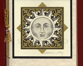 gifts, decor, Vintage Art Card Lithographed with Gold Foil, Celestial, Sun, Moon, constellations