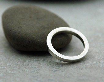 2.4mm Thick Polished Stackable Ring Band in Sterling Silver - Made to Order - Square Wire