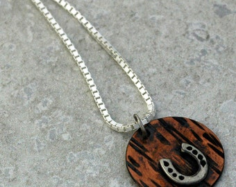 Good Luck - Horseshoe Pendant in Sterling Silver on Copper - Made upon Order