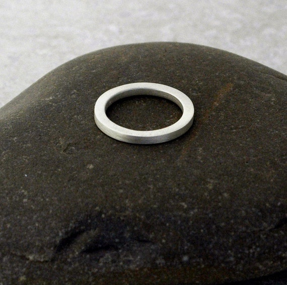 2.4mm Thick Matte Ring - Stackable Band in Sterling Silver - Made to Order in Square Wire