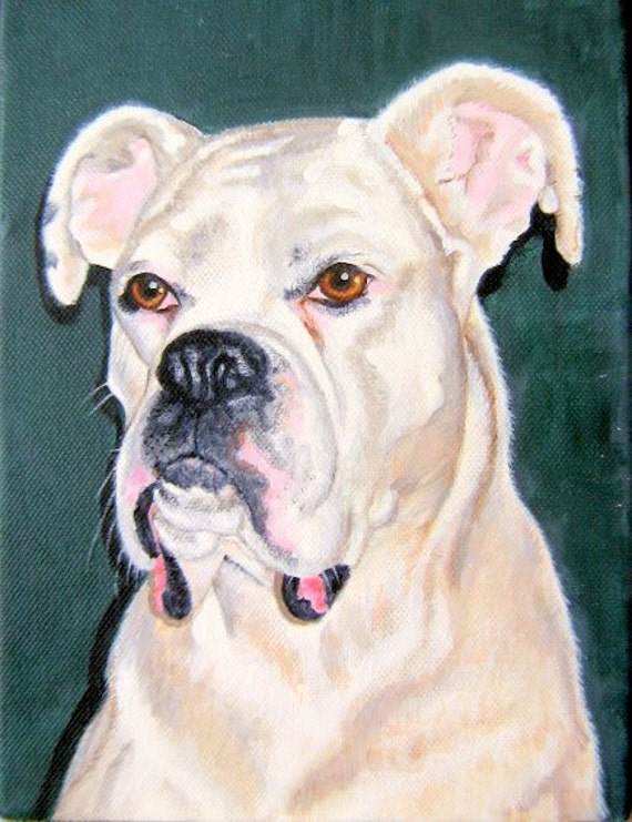 Original Custom Pet Portrait Painting from your photo, 8x10, oil painting on canvas, dog portrait or any animal painting, example Boxer dog