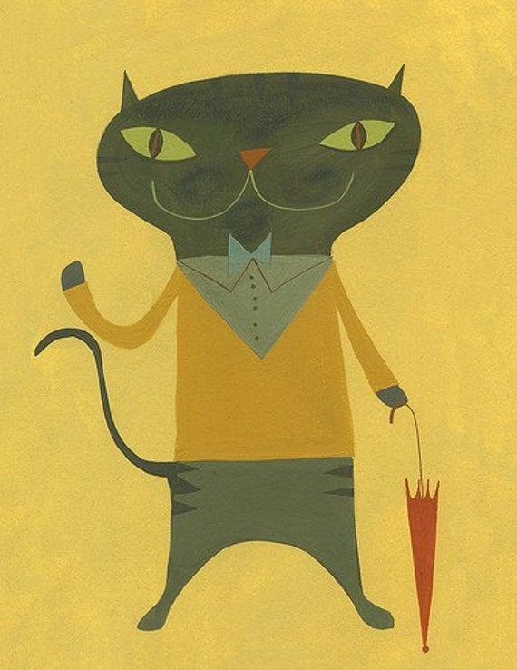 cat art print  - Jean-Paul,  a limited edition print by Matte Stephens