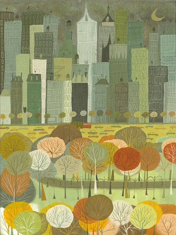 New York at night.  Limited edition print by Matte Stephens.