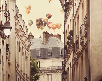 Paris Photography, Large Wall Art Print, Hot Air Balloons, Paris Decor, Romantic Art Print Fine Art Photography - Paris is a Feeling