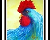 Items similar to Large colorful rooster print kitchen restaurant ...