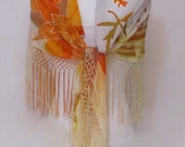 Fringed silk triangle scarf, silk painting