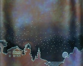 Purple Forest Silhouette Silk Scarf