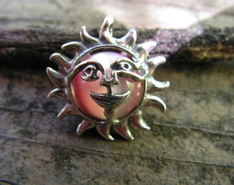 Sterling Silver Sun Face Pendant With Rose Stone