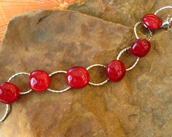 Valentine Bracelet, Red Glass Bracelet, Dichroic Link Bracelet, Dichroic Fused Glass Bracelet - Red and Silver- RED Holiday Bracelet
