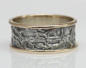 Custom order for Margee, Melon Skin Ring in 14k gold and sterling silver