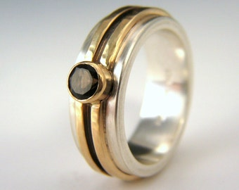 14k gold smoky quartz ring, recycled gold and silver, conflict free