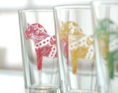 Dala horse - Swedish pint glasses - Set of 4, red, yellow, green, blue