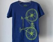 youth FIXIE TSHIRT 12 bicycle screen printed bike tee lime green on indigo blue size 12