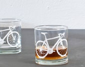 4 bicycle rocks or pints glasses, white bike