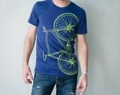 Large - Fixie Bike - adult tshirt, lime green bicycle on indigo tri-blend