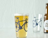 Bike Pint Glasses SET OF 4 Screen printed Bicycle Glassware Rocks