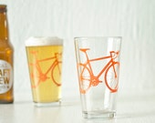 BICYCLE PINT GLASSES screen printed pint glassware