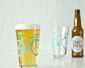 4 bike pint or rocks glasses, turquoise bicycle