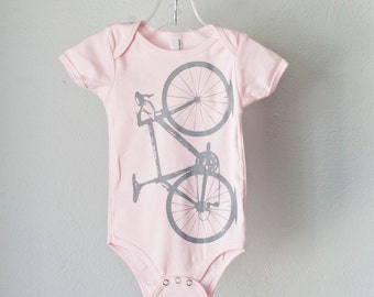 OOPS VITAL Bicycle 18-24 Month PINK infant bodysuit light gray bike one piece- 0174