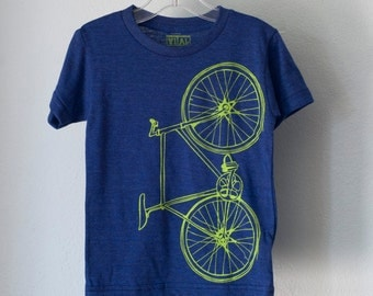 toddler FIXIE Bicycle 2T TSHIRT lime green bike on indigo blue tri-blend tee