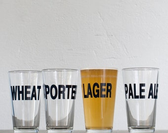 SALE Classic beers - Wheat hand printed pint glasses - dark charcoal - Wheat style