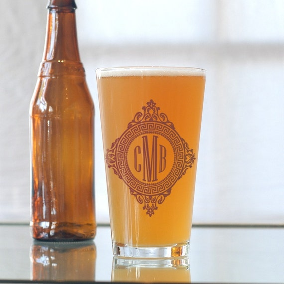 Custom monogram, screen printed glassware, pint glasses