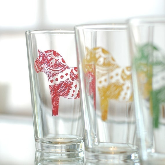 Dala horse glasses - Swedish design