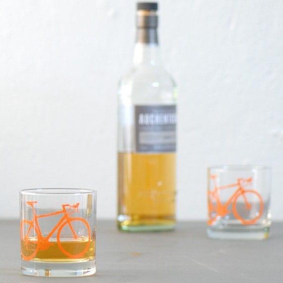 4 bike rocks glasses, orange bicycle screen printed pint glassware